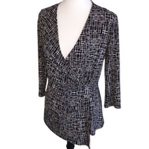 Anne Klein Abstract Print Faux Wrap Top Small